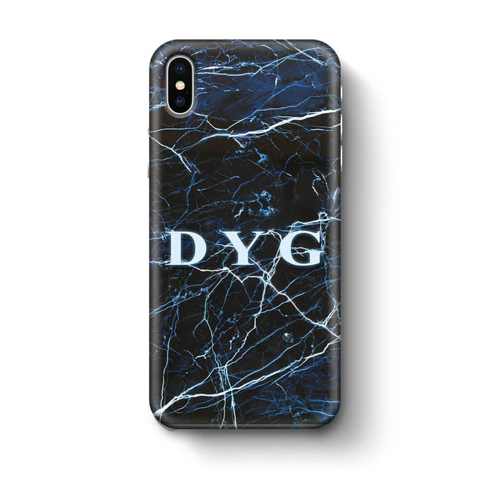 Dark Marble With Initials - iPhone X 3D Custom Phone Case design-your-gift.