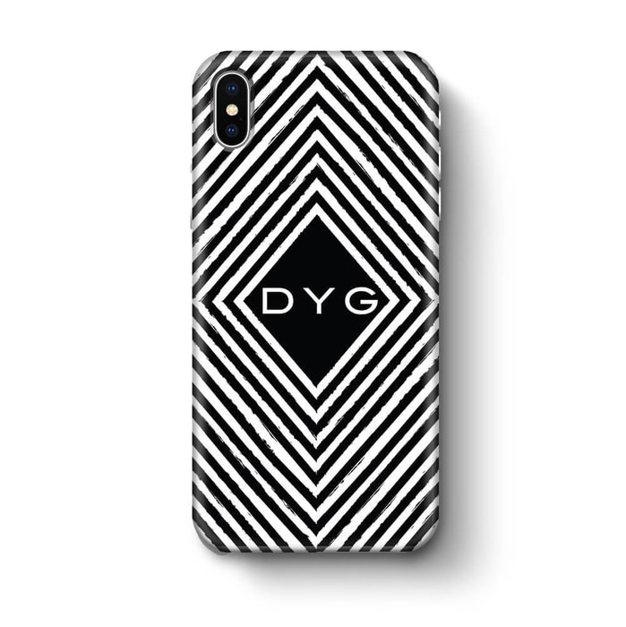 Black & White Patterns with Initial iPhone X 3D Custom Phone Case geometric pattern
