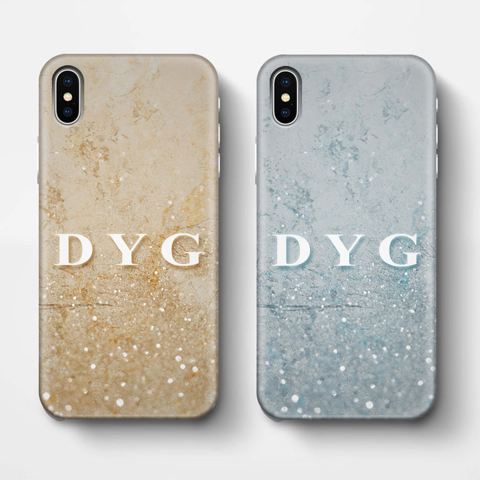 Glitter Marble With Initials iPhone X 3D Custom Phone Case variants