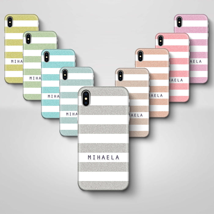 Glitter Stripes With Name iPhone X 3D Custom Phone Case variants