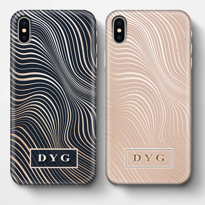 Glossy Waves With Initials iPhone X 3D Custom Phone Case Variants