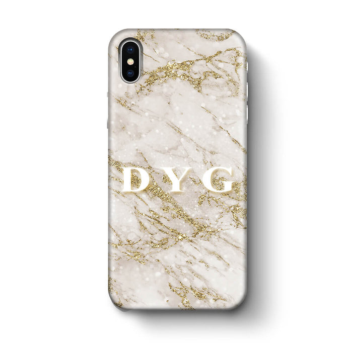 Pearl Marble With Initials - iPhone 3D Custom Phone Case design-your-gift.