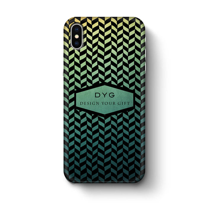 Geometric Hollow Design With Text iPhone X 3D Custom Phone Case green lake