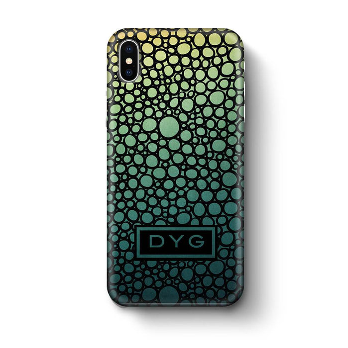 Bubbles Hollow with initials iPhone X 3D Personalised Phone Case green lake