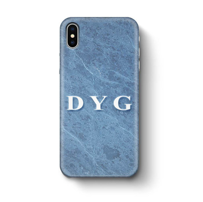 Blue Marble With Initials iPhone X 3D Custom Phone Case ice blue