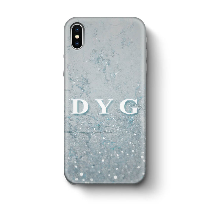 Glitter Marble With Initials iPhone X 3D Custom Phone Case light blue