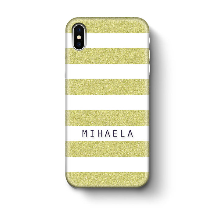 Glitter Stripes With Name iPhone X 3D Custom Phone Case lime