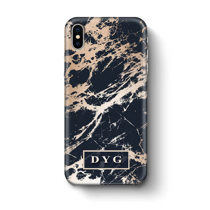 Luxury Gloss Marble With Initials iPhone X 3D Custom Phone Case black