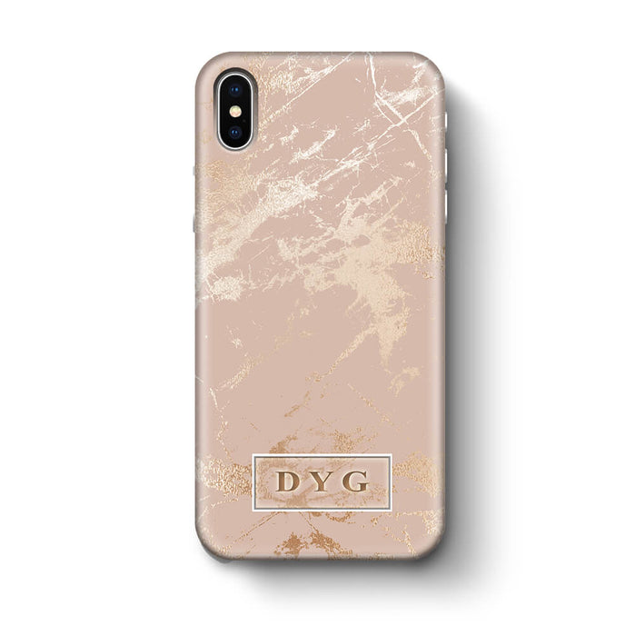 Luxury Gloss Marble With Initials iPhone X 3D Custom Phone Case champagne