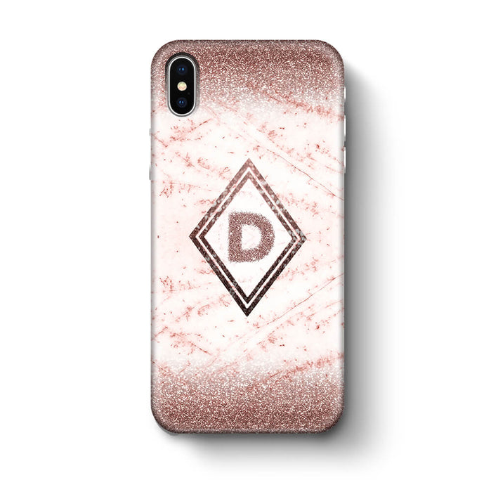 luxury Marble & Glitter With Initial iPhone X 3D Custom Phone Case coffee