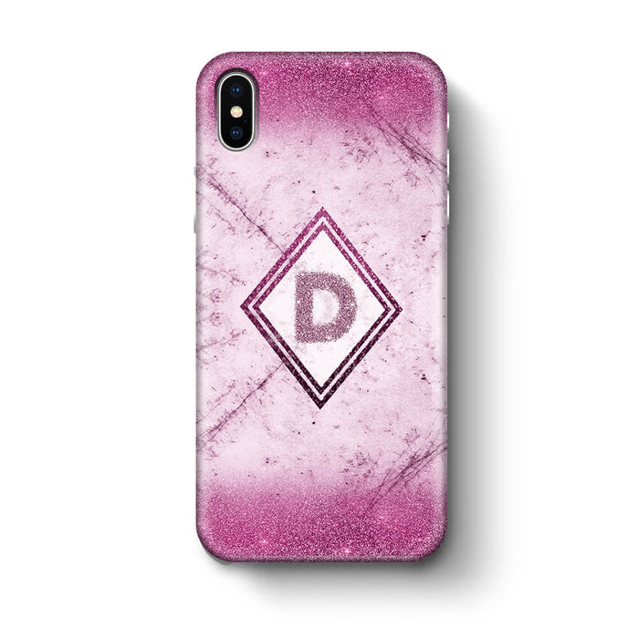 luxury Marble & Glitter With Initial iPhone X 3D Custom Phone Case pink
