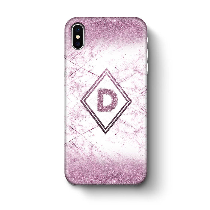 luxury Marble & Glitter With Initial iPhone X 3D Custom Phone Case purple