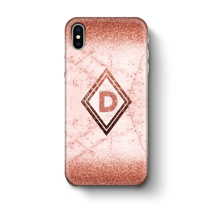 luxury Marble & Glitter With Initial iPhone X 3D Custom Phone Case rose gold