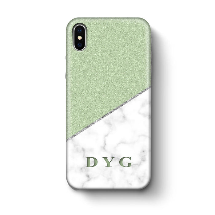 White marble & Glitter With Initial iPhone X 3D Custom Phone Case mint