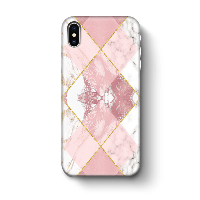 Rose Marble & Geometric Patterns iPhone X 3D Phone Case design 1