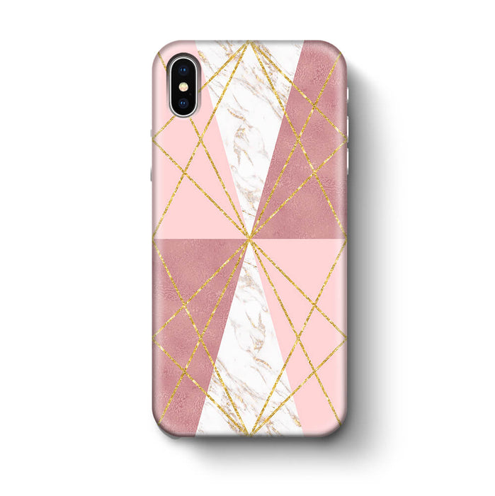 Rose Marble & Geometric Patterns iPhone X 3D Phone Case design 2