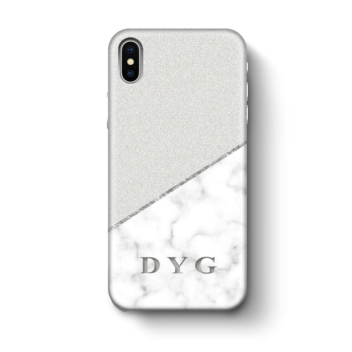 White marble & Glitter With Initial iPhone X 3D Custom Phone Case silver