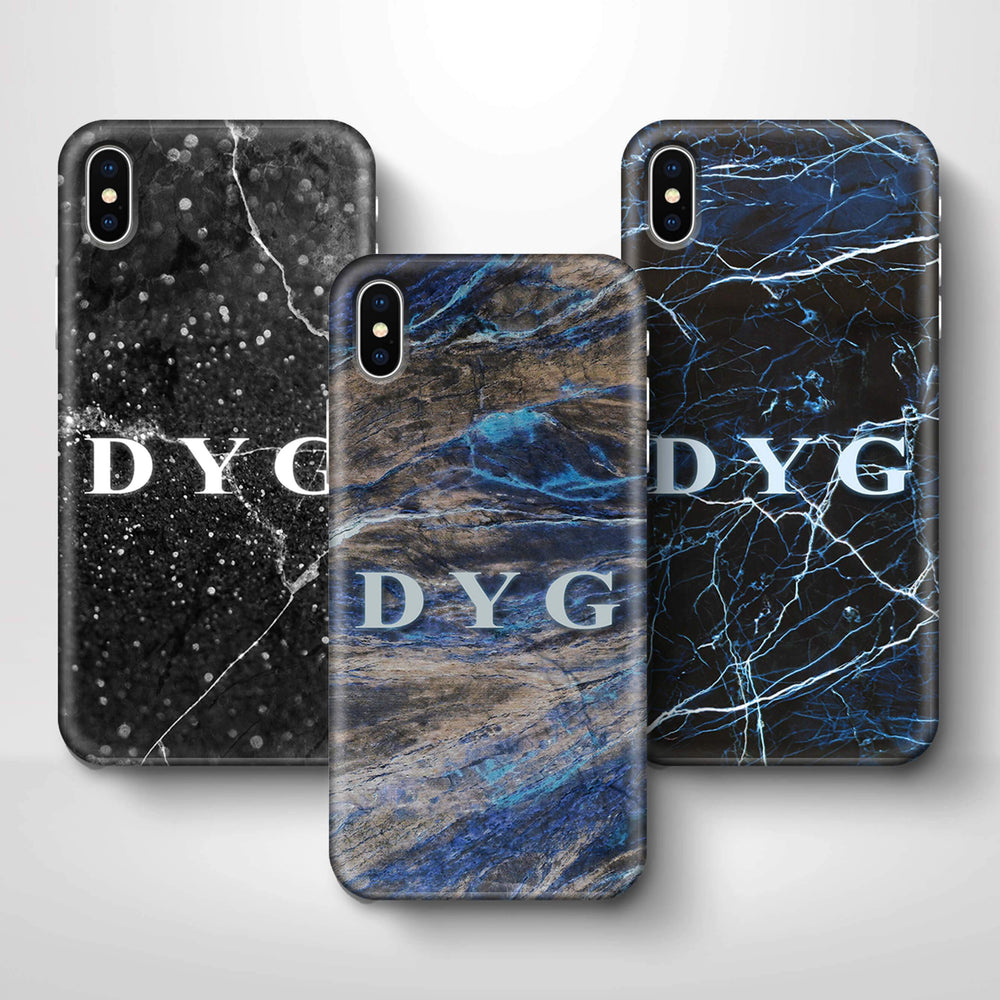 Dark Marble With Initials iPhone X 3D Custom Phone Case variants