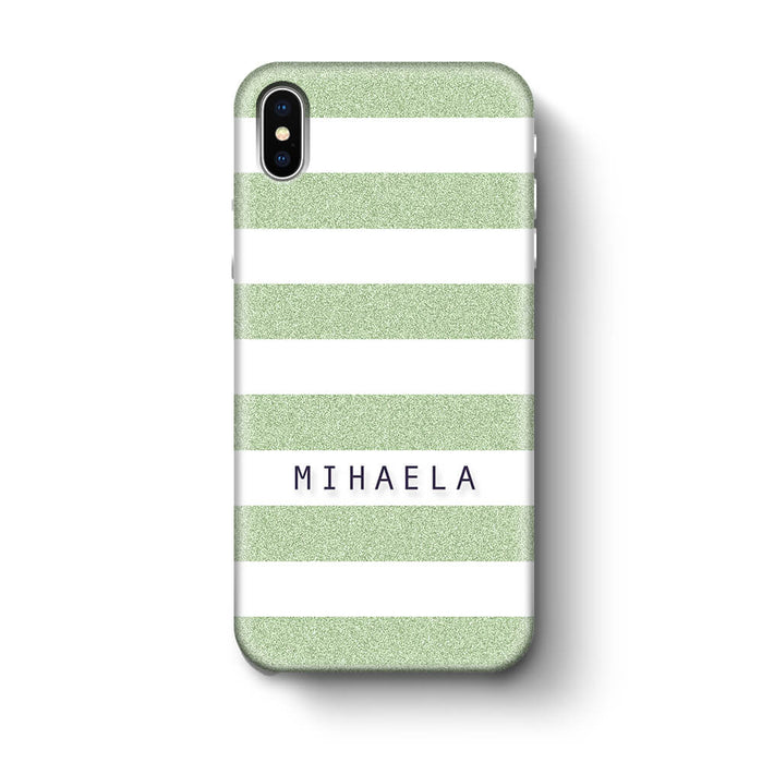 Glitter Stripes With Name iPhone X 3D Custom Phone Case mint