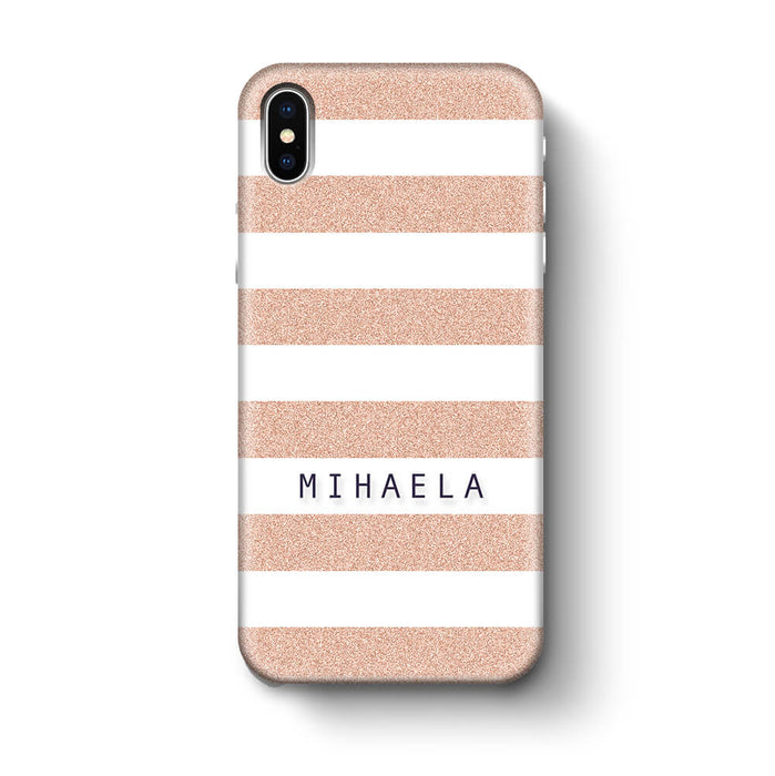 Glitter Stripes With Name iPhone X 3D Custom Phone Case peach