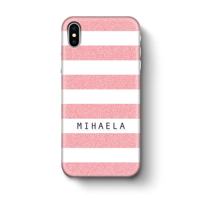 Glitter Stripes With Name iPhone X 3D Custom Phone Case pink
