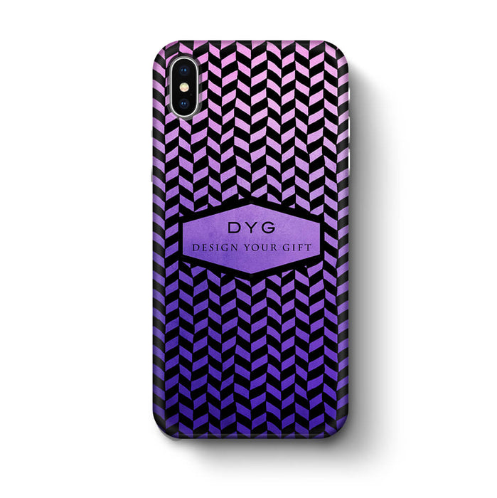 Geometric Hollow Design With Text iPhone X 3D Custom Phone Case purple
