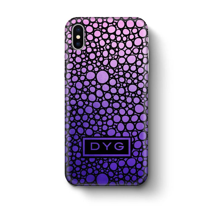 Bubbles Hollow with initials iPhone X 3D Personalised Phone Case purple