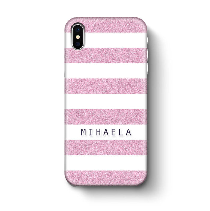 Glitter Stripes With Name iPhone X 3D Custom Phone Case purple