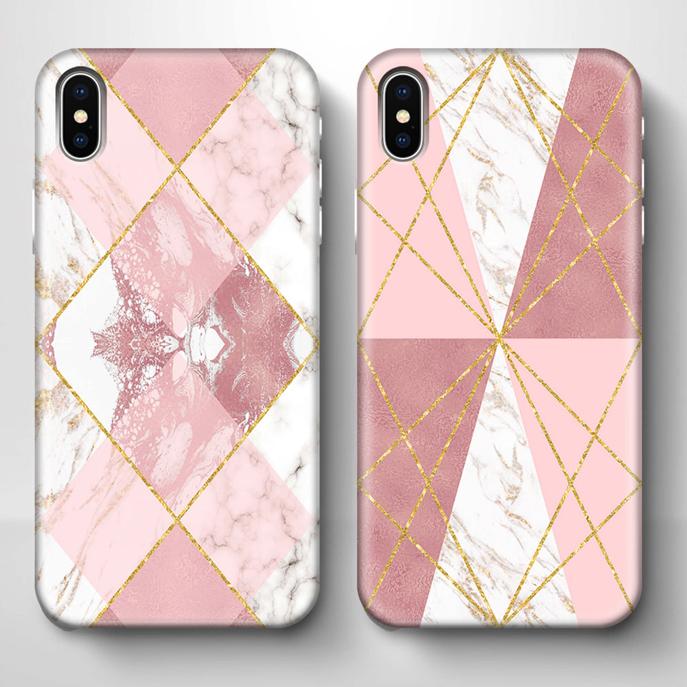 Rose Marble & Geometric Patterns iPhone X 3D Phone Case variants