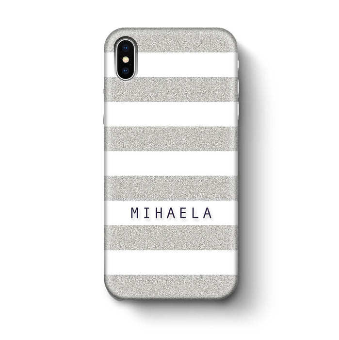 Glitter Stripes With Name iPhone X 3D Custom Phone Case silver