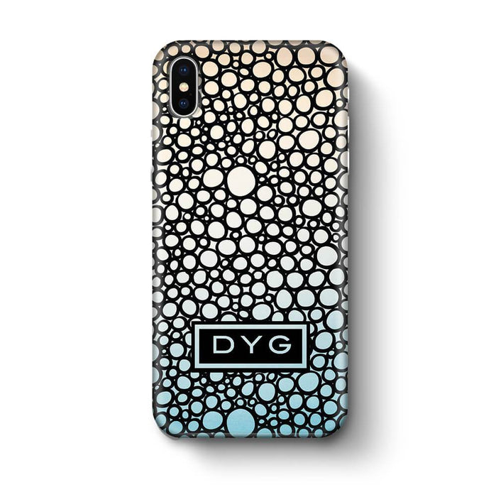 Bubbles Hollow with initials iPhone X 3D Personalised Phone Case sky