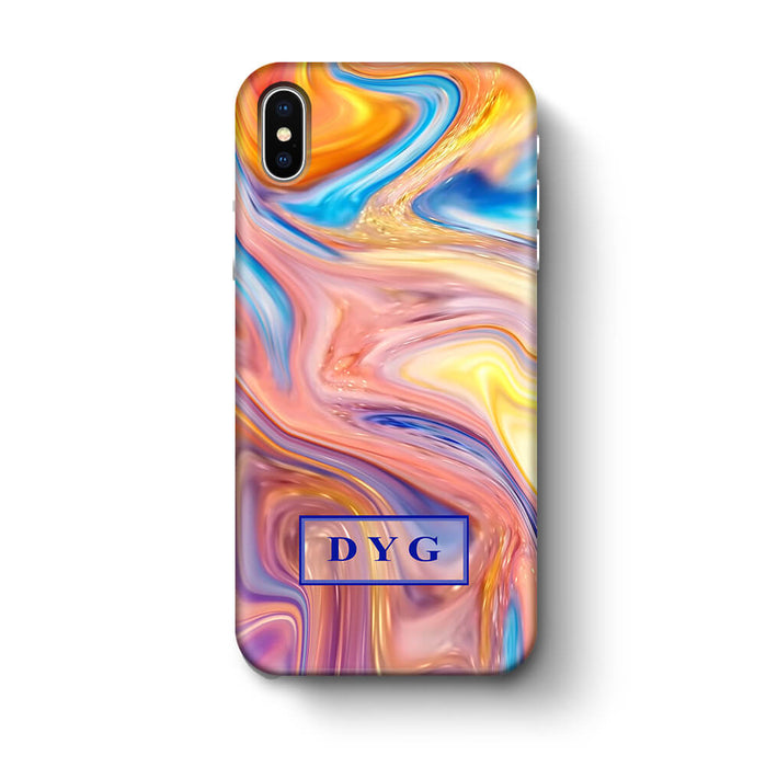 Liquid Marble With Initials iPhone X 3D Personalised Phone Case summer vibe