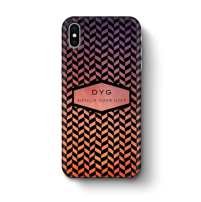 Geometric Hollow Design With Text iPhone X 3D Custom Phone Case sunset