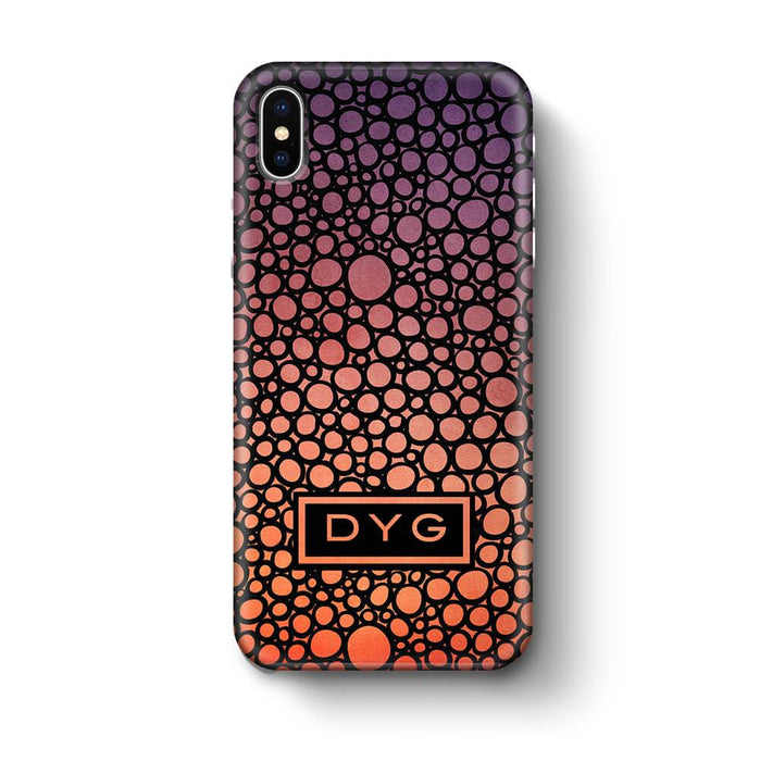 Bubbles Hollow with initials iPhone X 3D Personalised Phone Case sunset