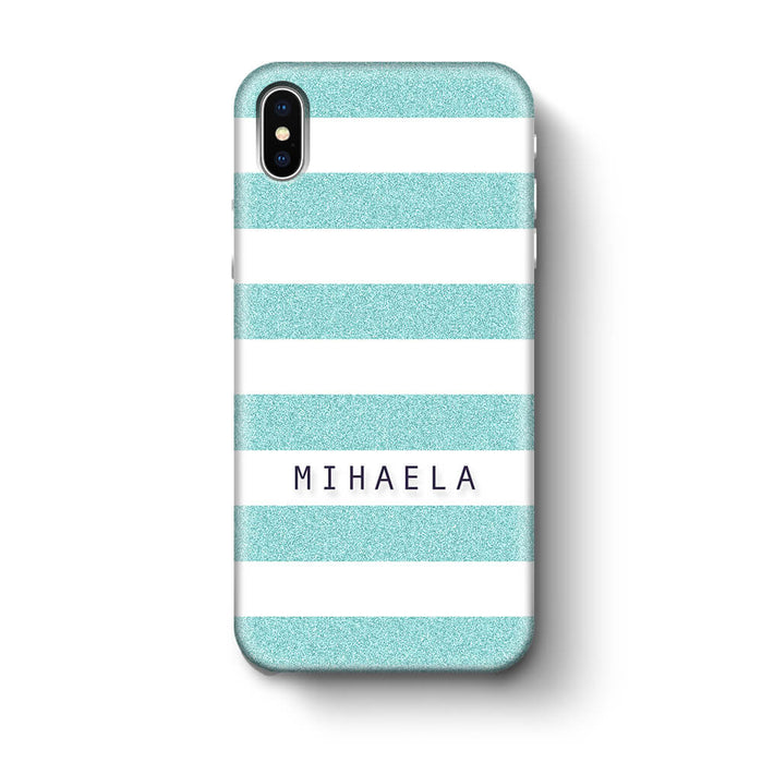Glitter Stripes With Name iPhone X 3D Custom Phone Case turquoise