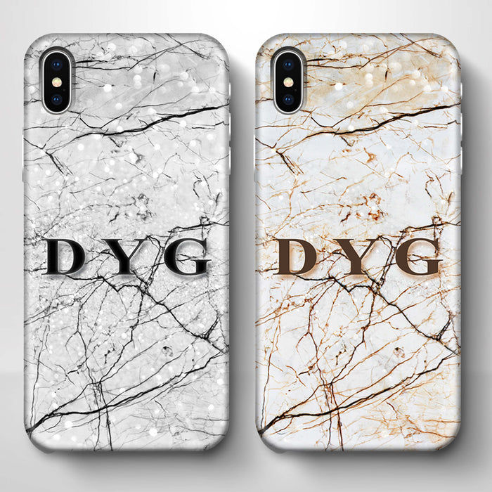Marble Veins With Initials iPhone X 3D Personalised Phone Case variants