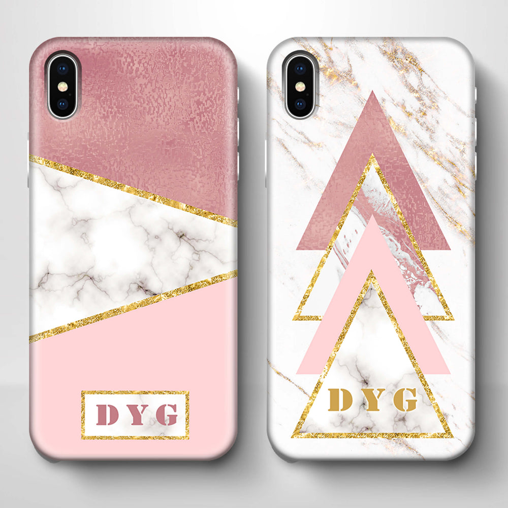 White & Rose marble With Initials iPhone X 3D Custom Phone Case variants