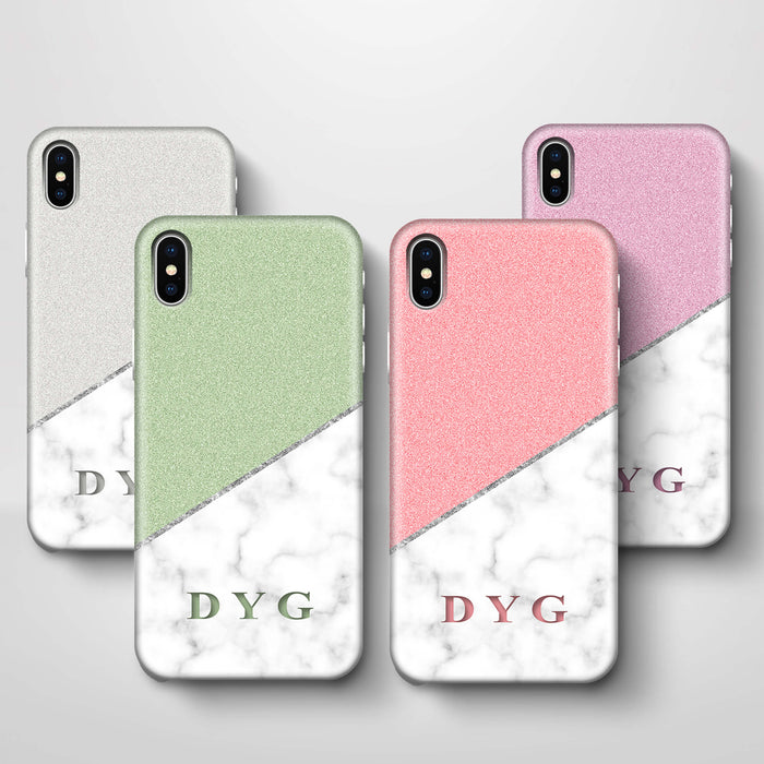 White marble & Glitter With Initial iPhone X 3D Custom Phone Case variants