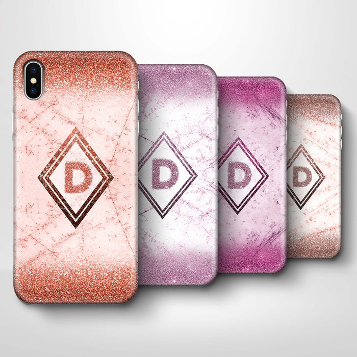 luxury Marble & Glitter With Initial iPhone X 3D Custom Phone Case 4 variants
