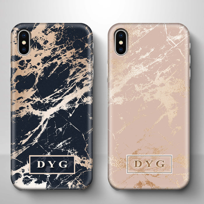 Luxury Gloss Marble With Initials iPhone X 3D Custom Phone Case variants