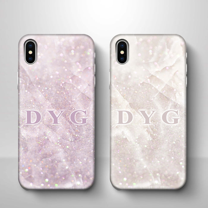 Luxury Glitter Marble With Initials iPhone X 3D Custom Phone Case variants