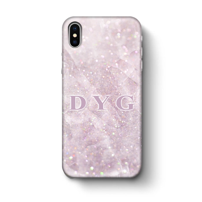 Luxury Glitter Marble With Initials iPhone X 3D Custom Phone Case pink