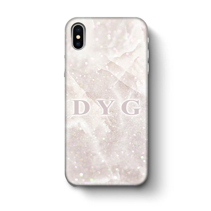 Luxury Glitter Marble With Initials iPhone X 3D Custom Phone Case white