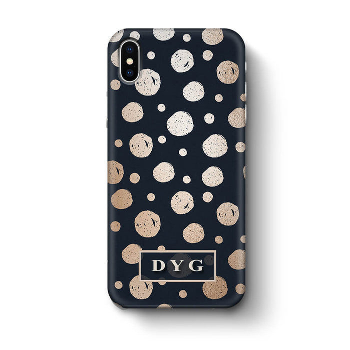 Glossy Dots With Initials iPhone X 3D Custom Phone Case black