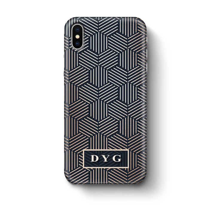 Glossy Geometric Pattern With Initials iPhone X 3D Phone Case Black
