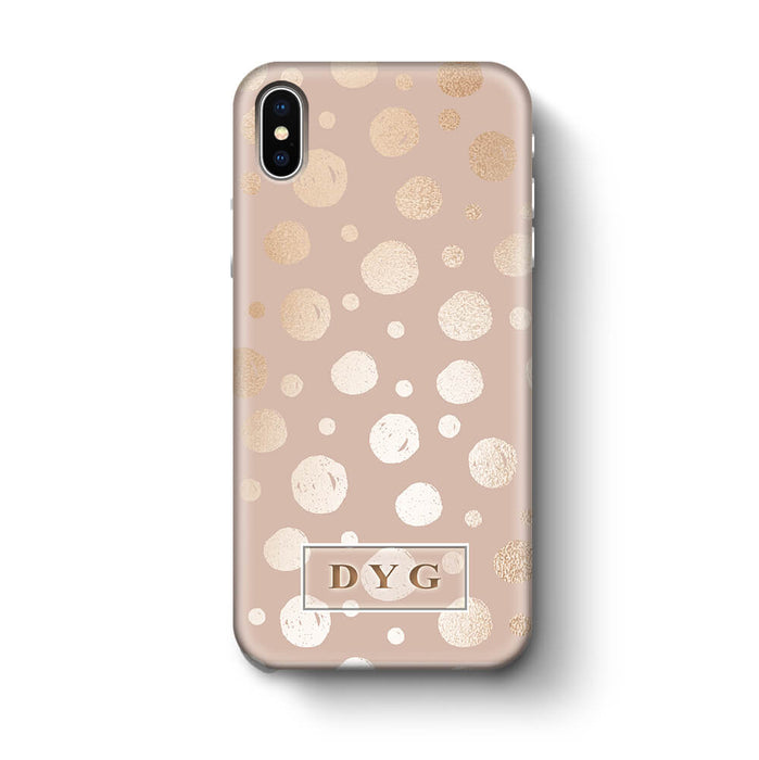 Glossy Dots With Initials iPhone X 3D Custom Phone Case champagne