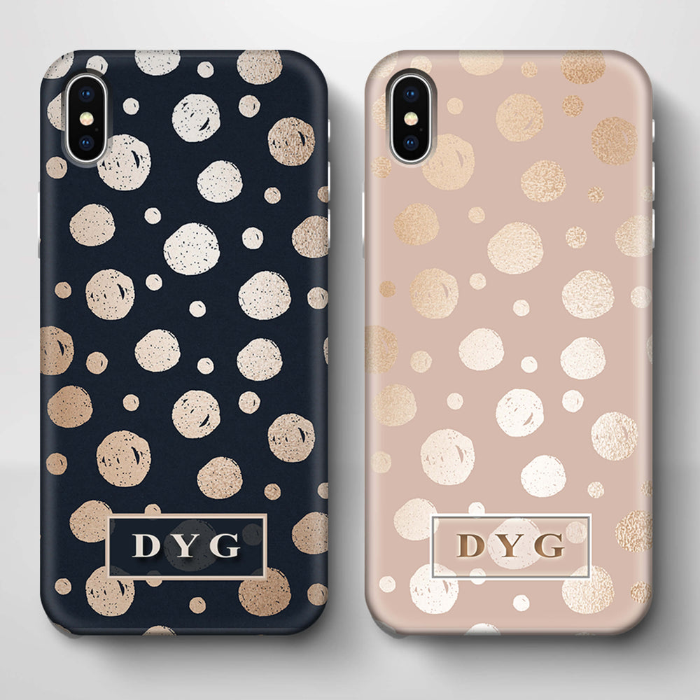 Glossy Dots With Initials iPhone X 3D Custom Phone Case variants
