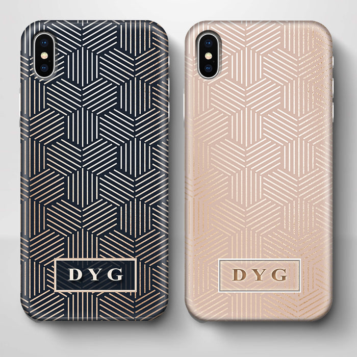 Glossy Geometric Pattern With Initials iPhone X 3D Phone Case variants