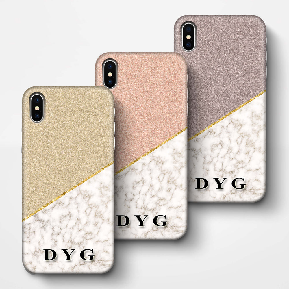 Gold Marble & Glitter With Initials iPhone X 3D Custom Phone Case Variants