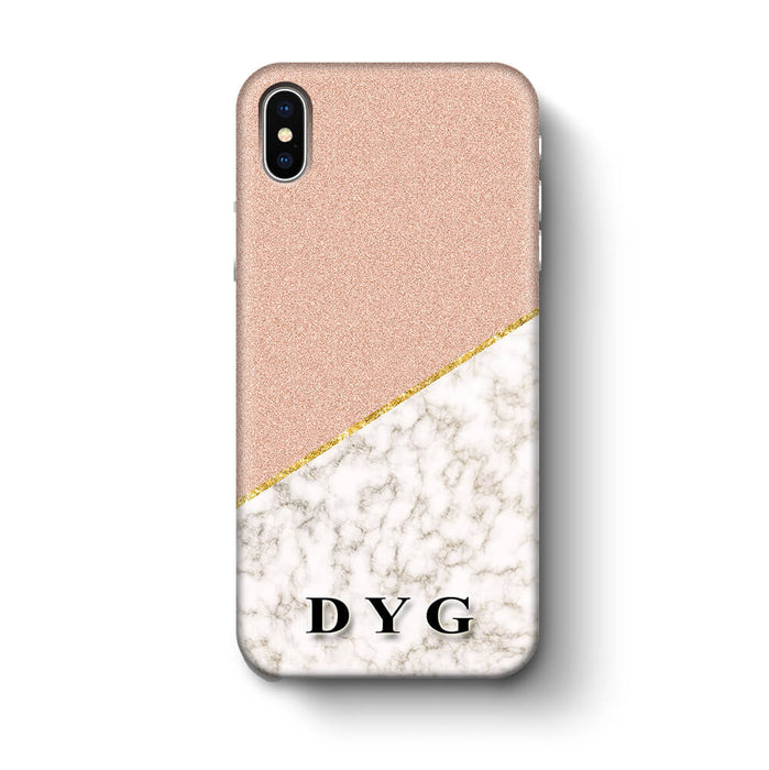 Gold Marble & Glitter With Initials iPhone X 3D Custom Phone Case peach